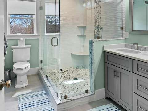 Bath room #4 Full with shower ensuite to bedroom 4-31 Pine Rd West Dennis- Cape Cod- New England Vacation Rentals