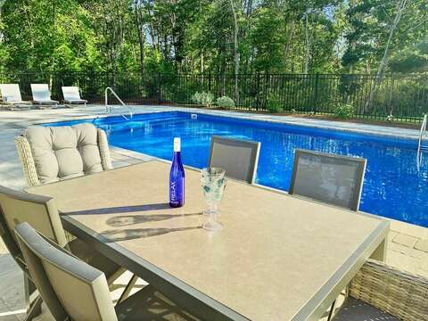 Relaxing in the pool at -31 Pine Rd West Dennis- Cape Cod- New England Vacation Rentals