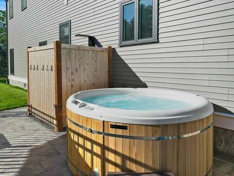 Relax in the Hot tub at-31 Pine Rd West Dennis- Cape Cod- New England Vacation Rentals