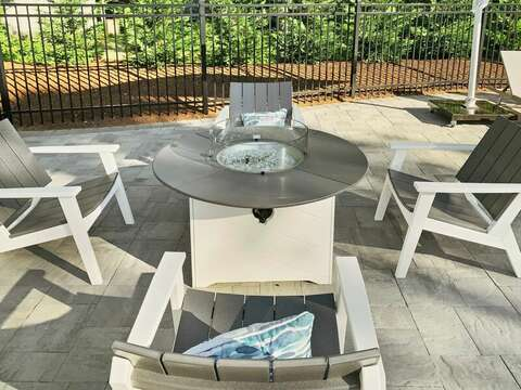 Fire pit by the pool at-31 Pine Rd West Dennis- Cape Cod- New England Vacation Rentals