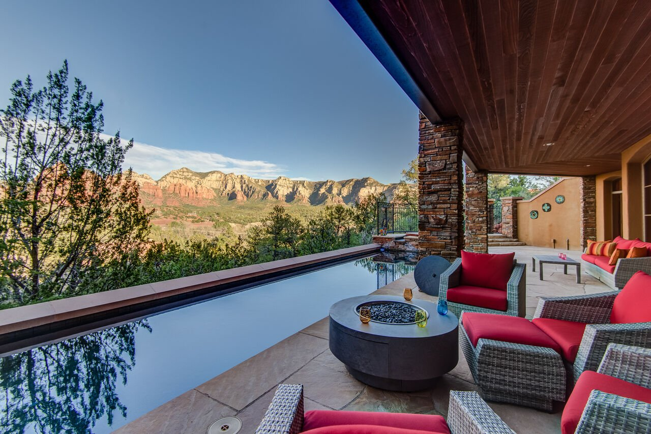 Salt Water Pool and Hot Tub with Red Rock Views