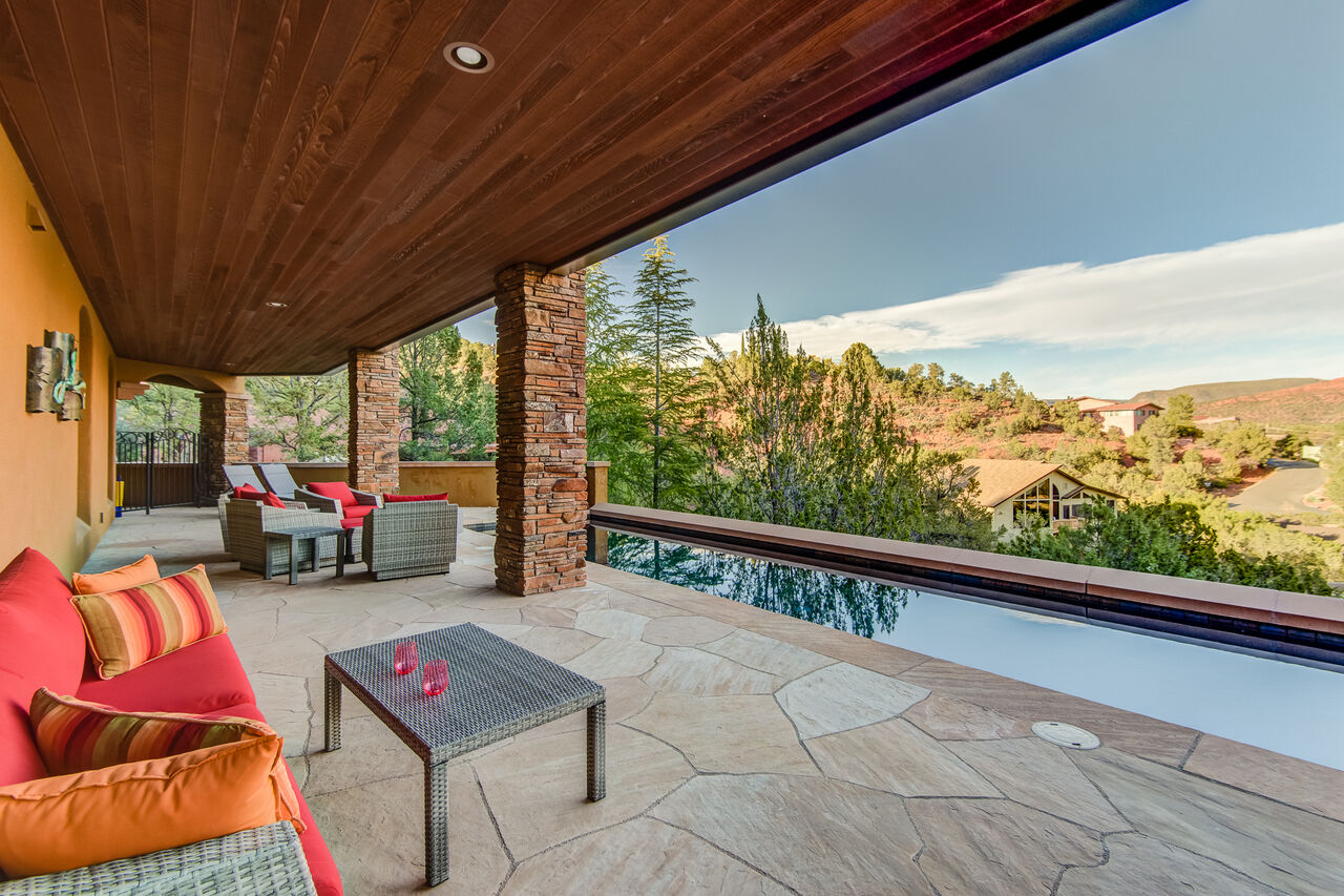 Over 2000 Square Feet of Covered Flagstone Patios and Decks