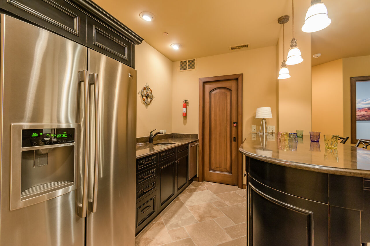 Wet Bar with a Full-size Refrigerator and Mini Dishwasher