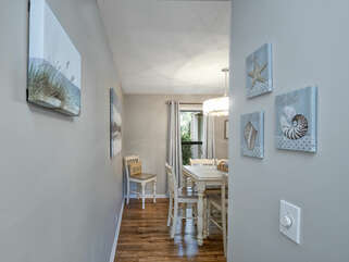 The entry way is open and airy leading you into the beautiful living and dining space.