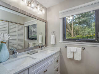 The window in the master bathroom gives lots of light. Hair dryer included.