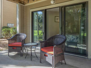The guest bedroom has a patio with sliding doors giving extra space to relax.