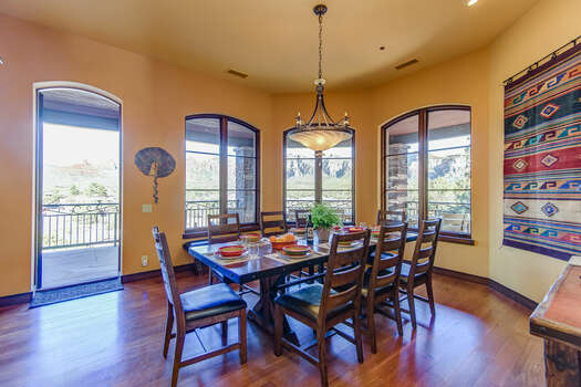 Dining Area with Hardwood Flooring and Seating for up to Twelve Diners