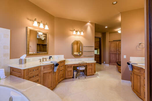 Grand Master Bath with Two Vanities and a Make-up Area
