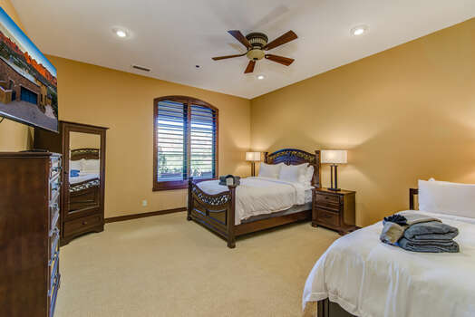 Lower Level Bedroom 4 with a Queen Bed, Twin Day Bed and Twin Trundle, a 55