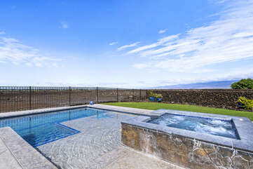 Pool with baja shelf - ready for you to soak up some rays!