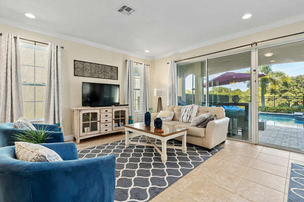 Admire the views of the patio directly from the living room