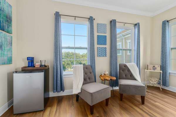 Sitting nook where you and a loved one can enjoy a night-cap before bed