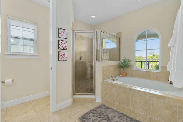 Large ensuite bathroom with a garden tub and walk-in shower