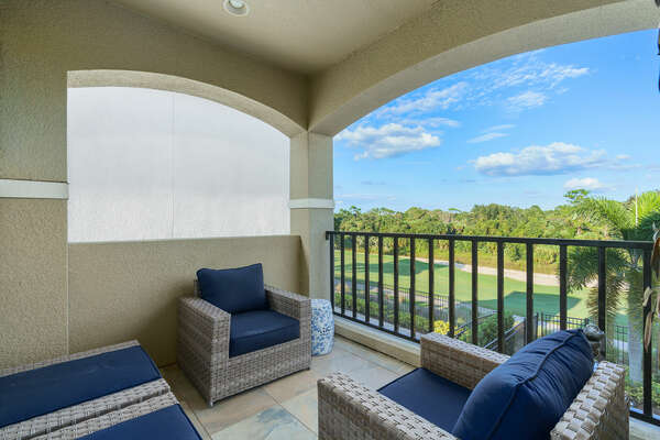 Admire beautiful golf course views from the private balcony
