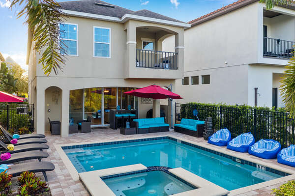 The patio has exterior lighting to allow for swimming at any hour