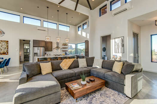 Open and Bright Living Room with High Ceilings and Plenty of Natural Light