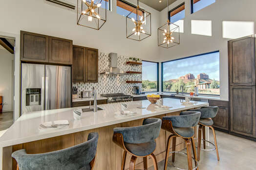 Fully Equipped Gourmet Kitchen and a Large Center Island