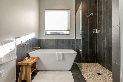 Master Bath 1 with a Soaking Tub and Large Tile Shower