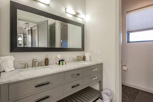 Double Sink Vanity and Water Closet