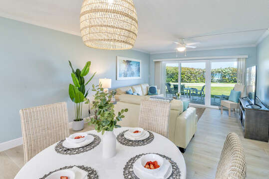 Bright and updated dining and living room.