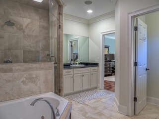 Master bathroom with split vanities,jetted tub and a roomy steam shower.
