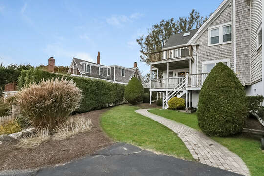 View of pathway to entrance to 323 Main Street Chatham Cape Cod - New England Vacation Rentals