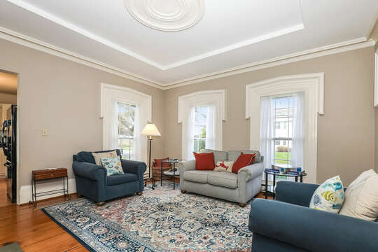 Comfy couches and chairs for after hours TV.  323 Main Street Chatham Cape Cod - New England Vacation Rentals