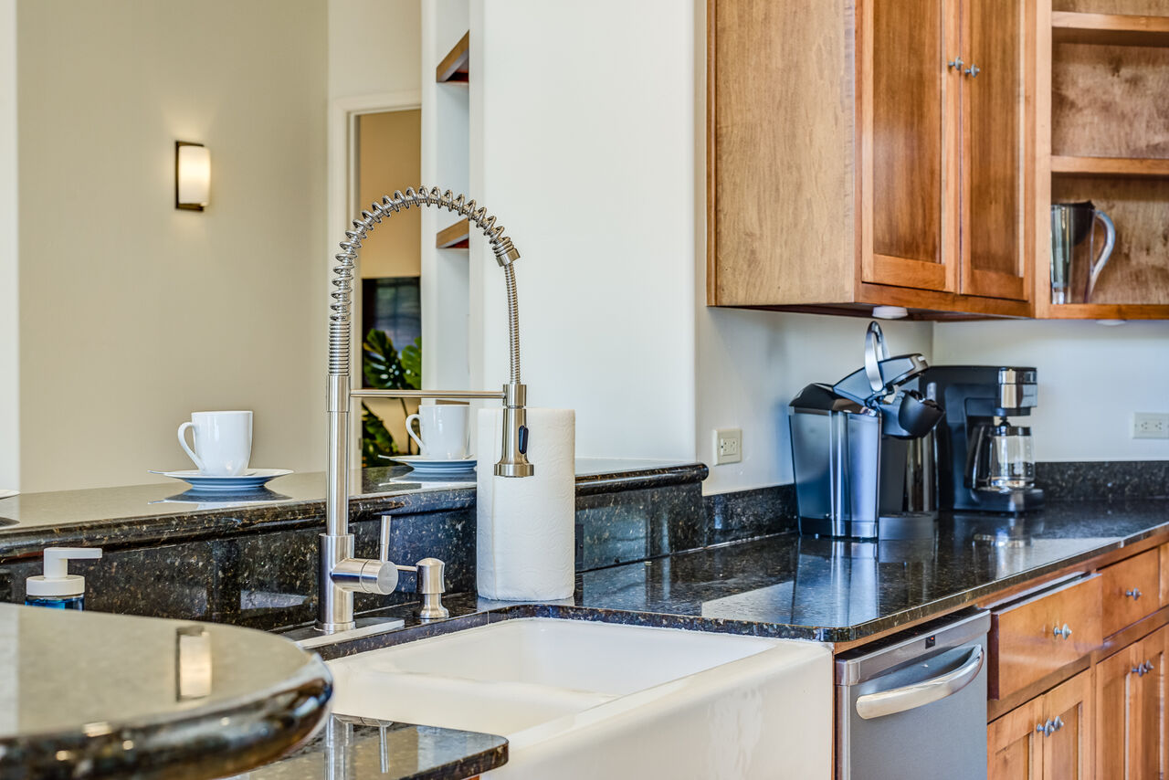 Farm Sink and Two Coffee Makers - Drip and Keurig