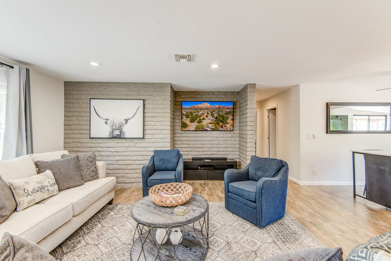 Comfortable Living Room with a New Queen Sofa Sleeper and Smart TV