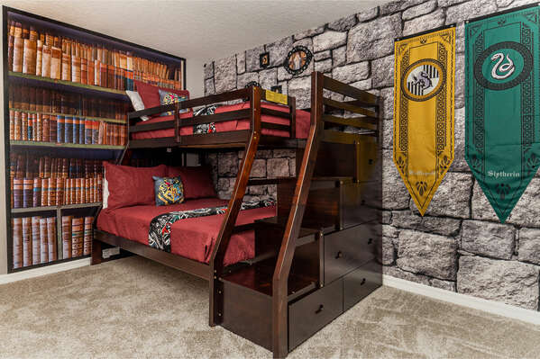 Witches and wizards in training can get a great night's rest before a day at the theme parks in this kids bedroom