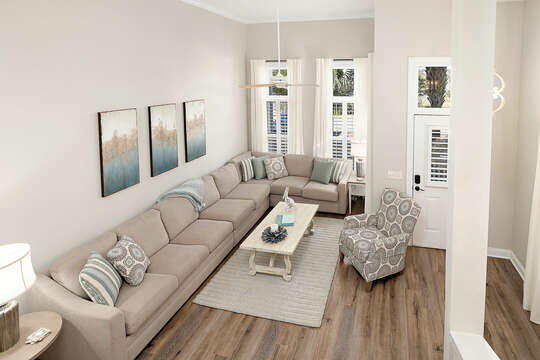Front Entry and Living Room with large sofa and plenty of seating