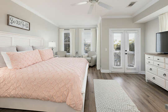 Master Bedroom with a plush king bed and a private balcony
