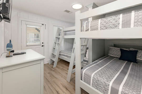 Bunk Room with Four Full Size Bunk Beds, each with their own charging station and private light