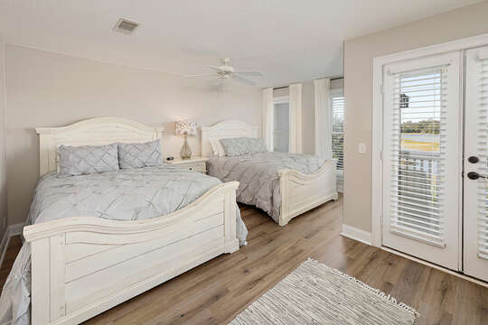 3rd Floor Guest Bedroom with two Queen Size Beds with private balcony overlooking the marsh