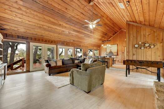 A Full-size Sleeper Sectional Sofa, a Foosball Table, and Access to a Huge Deck and Yard