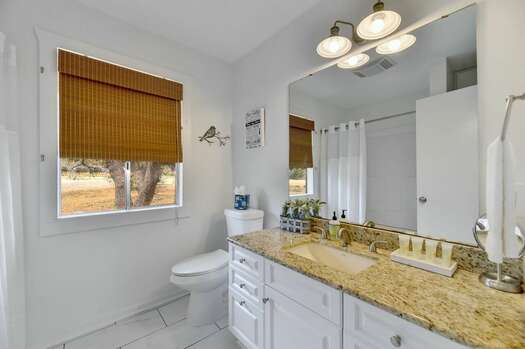 Full Shared Bath 2 with a Stone Counter Sink and a Tub/Shower Combo