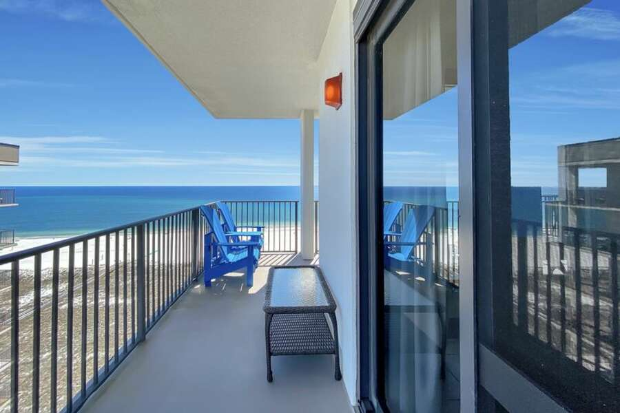 Private Balcony overlooking the Gulf of Mexico with Comfortable Adirondacks for Relaxing
