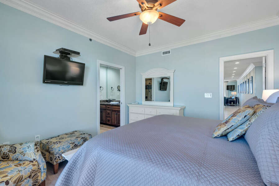 Master Bedroom with King Size Bed, Private Balcony and Private Master Bathroom