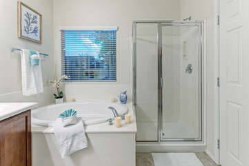 Soothe tired muscles in the luxurious garden tub or rinse way the desert sand in the walk-in shower.
