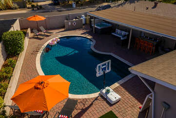 Private Backyard with Heated Pool and Hot Tub, Sitting and Lounge Areas and a Putting Green