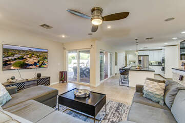 Great Room - Comfortable Family Room and Kitchen with Backyard Access