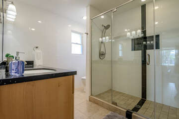 En Suite Bath with a Large Tile/Glass Shower with Dual Shower Heads