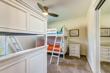 Bedroom 4 with Two Twin Over Twin Bunk Beds and Access to a Full Shared Bath