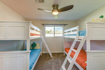 Bedroom 4 with Two Twin Over Twin Bunk Beds