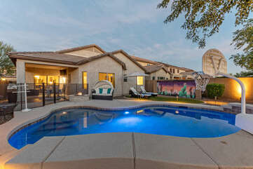 Welcome to Red Bird Nest, our 4 BR, 2 BA, single story home with a heated pool.