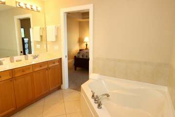 Master Bathroom with double sinks, walk in shower and soaking tub