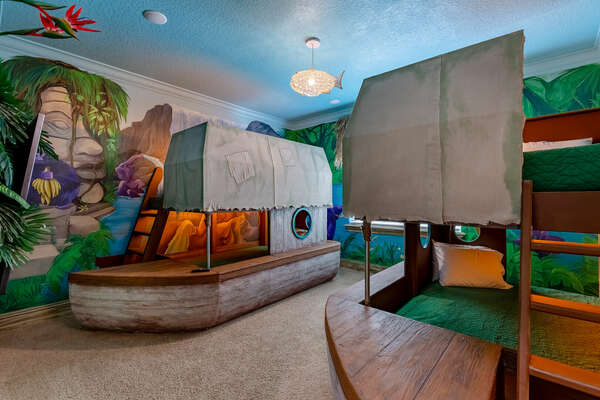 Kids will find adventures in the jungle cruise inspired bedroom