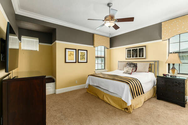 The master suite bedroom 5 is located on the second floor with a king bed and 55-inch SMART TV