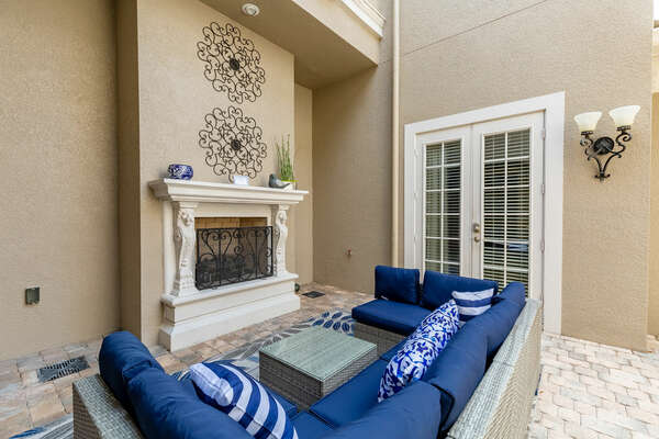 Your private courtyard is great for relaxing and enjoying each other's company on comfortable outdoor furniture (Disclaimer: Fireplace(s) not allowed for guest use, homeowner use only.)