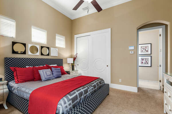 The second master suite on the ground floor has a king bed and ensuite bathroom